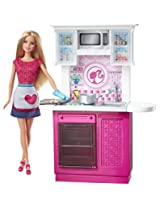 Barbie Doll and Deluxe Kitchen Set, Multi Colour