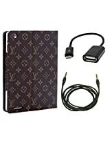 BMS New Multi Color Designer PU Leather Smart Flip book Case Cover Stand for ipad 4 with USB and Aux Combo Set