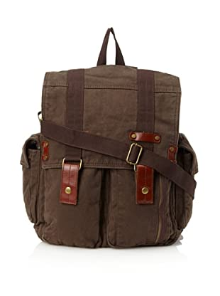J. Campbell Los Angeles Men's Washed Canvas Backpack Messenger (Brown)