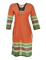 2Dots Women's Cotton Regular Fit Kurti (Orange, 40 Inches)
