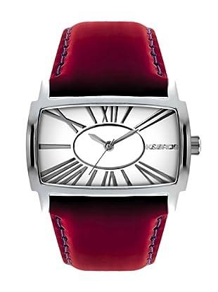 K&BROS 9147-2 / Reloj de Señora  con correa de piel blanco / rojo