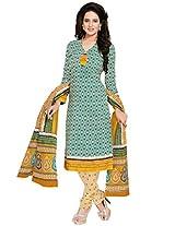 Salwar Studio Green & White & Yellow Cotton Dress Material with Dupatta SHIMAYAA-1210