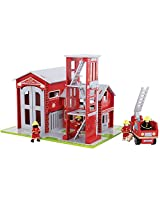 Bigjigs Toys Heritage Playset Fire Station and Engine