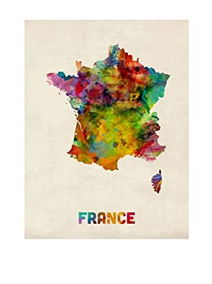 Trademark Fine Art France Watercolor Map by Michael Tompsett
