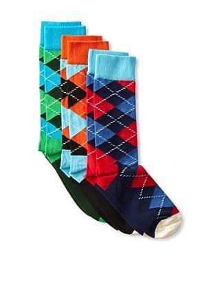 Happy Socks Men's Argyle Socks (3 Pairs) (Blue/Green/Orange)