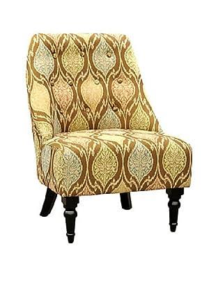 Armen Living Amelia Mosaic Fabric Club Chair, Brown