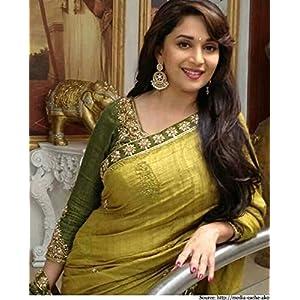 Madhuri Dixit style inspired Lemon and Green color zari work party wear saree.sari