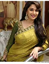 Madhuri Dixit style inspired Lemon and Green color zari work party wear saree.sari