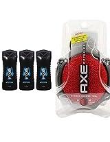 AXE Phoenix, Revitalizing Shower Gel, Travel Size 3 Fl Oz (Pack of 3) + AXE Shower Tool, Detailer, (color may vary)