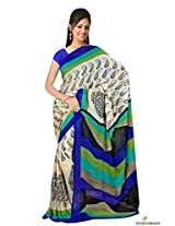 Chiffon Printed Saree In Cream and Blue Colour