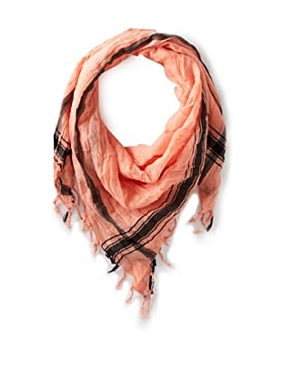 Leigh & Luca Women's Voile Logo Square Scarf with Tassels, Coral