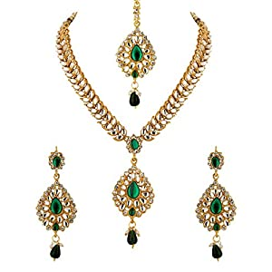 Voylla With Green Colored Stones And CZ Necklace with Maang Tika Set for Women