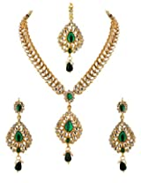 Voylla Maang Tika Set With Green Colored Stones And CZ