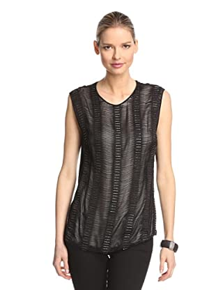 Bibhu Mohapatra Women's Beaded Embroidered Sleeveless Blouse (Black)