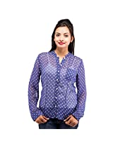 Goodwill Impex Women's Formal Polka Dots Georgette Shirt