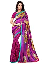 Silk Bazar Women's Faux Georgette Saree with Blouse Piece (Pink)