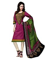 Jevi Prints Pink & Green Cotton Printed Unstitched Dress Material