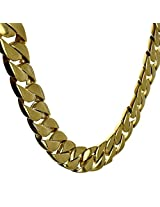 Heavy Chain 30MM Wide 14K Gold Plated Curb 28 Inch Huge Cuban Stainless Steel Chunky Hip Hop VIP Necklace