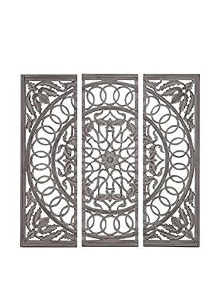 Set of 3 Wood Mirror Panels