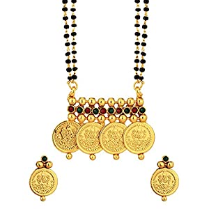 Voylla Double Chain Temple Inspired Coin Mangalsutra Set With Red And Green Stones