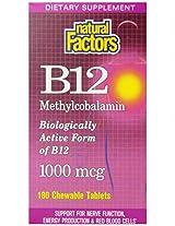 Natural Factors, B12 Methylcobalamin, 1000 Mcg, 180 Chewable Tablets