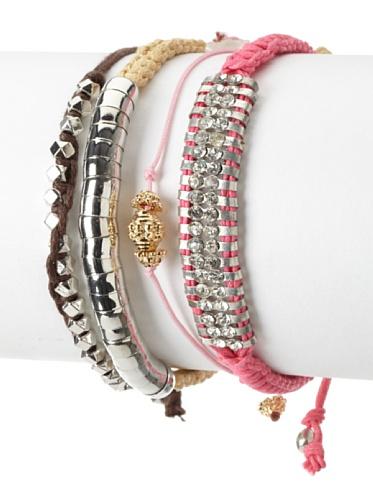 Shashi Bright Stacking Adjustable Bracelet Set, Pink