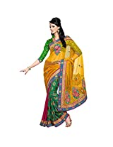 YSK Multicolor Half and Half Saree