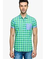 Green Check Regular Fit Casual Shirt Status Quo