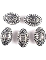 Superfine Pointed Oval Beads with Granulation, Circles and Rings (Price Per Piece) - Sterling Silver