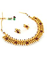 Megh Craft Women's One Gram Gold Plated Pearl Necklace Set