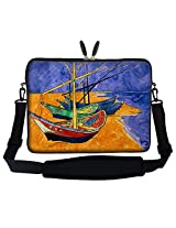 Meffort Inc 17 17.3 inch Neoprene Laptop Sleeve Bag Carrying Case with Hidden Handle and Adjustable Shoulder Strap - Vincent van Gogh Fishing Boats on the Beach