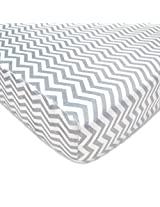 American Baby Company Heavenly Soft Chenille Fitted Crib Sheet, Gray Zigzag By American Baby Company