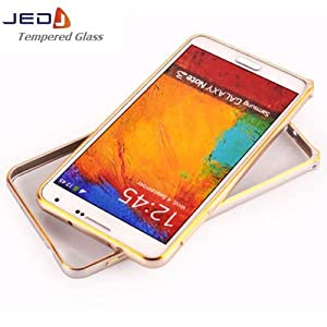 Dual Tone Circular Arc Shaped Metal Bumper Case Cover for Samsung Galaxy Note 3 - Gold