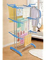AADYA Hi-Quality Three Layer Clothes Rack Hanger with Wheels for Drying Clothes(COLOR WHITE)