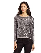 Design History Women's Allover Sequins Hi Lo Sweater, Dolphin Grey, X-Small