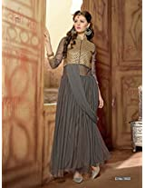 Rozdeal Women Net Embroidered Unstitched 3/4 Sleeve Gray Anarkali Suit