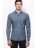 Blue Printed Regular Fit Casual Shirt United