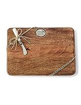 Mud Pie Cutting Board Set, Initial-A, Brown