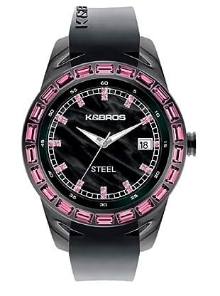 K&BROS 9166-1 / Reloj de Señora  con correa de caucho negro