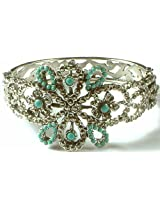 Exotic India Robin's Egg Bangle with Marcasite - Sterling Silver