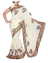 Rajlaxmi Women's Georgette Saree (White)