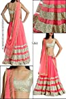 Bollywood Replica Model Net Lehenga In Cream and Pink Colour NC556