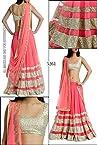 Bollywood Replica Model Net Lehenga In Cream and Pink Colour NC556