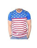 Black Collection Men's Round Neck Cotton T-Shirt (BCSA0026_Blue_Medium)