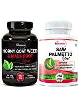 StBotanica Horny Goat Weed With Maca Root Extract - 800mg 60 Veg Capsules + StBotanica Saw Palmetto - 250mg Extract 60 Veg Capsules
