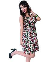 Garden Vareli Womens Crepe A-Line Dress (Gardenvareli Western Dress 1018_D-B _Black _Large)