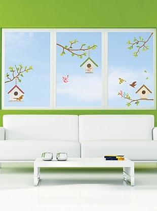 Vinilo Palos de árboles y pájaros Multicolores