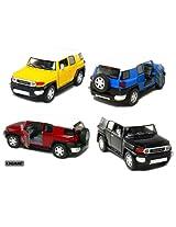 Set of 4: 5 Toyota FJ Cruiser 1:36 Scale (Black/Blue/Red/Yellow)