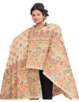 Exotic India White-Smoke Kani Jamawar Stole with Woven Paisleys - Off-White