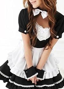 蝶ネクタイの可愛いメイドドレスセット コスプレ